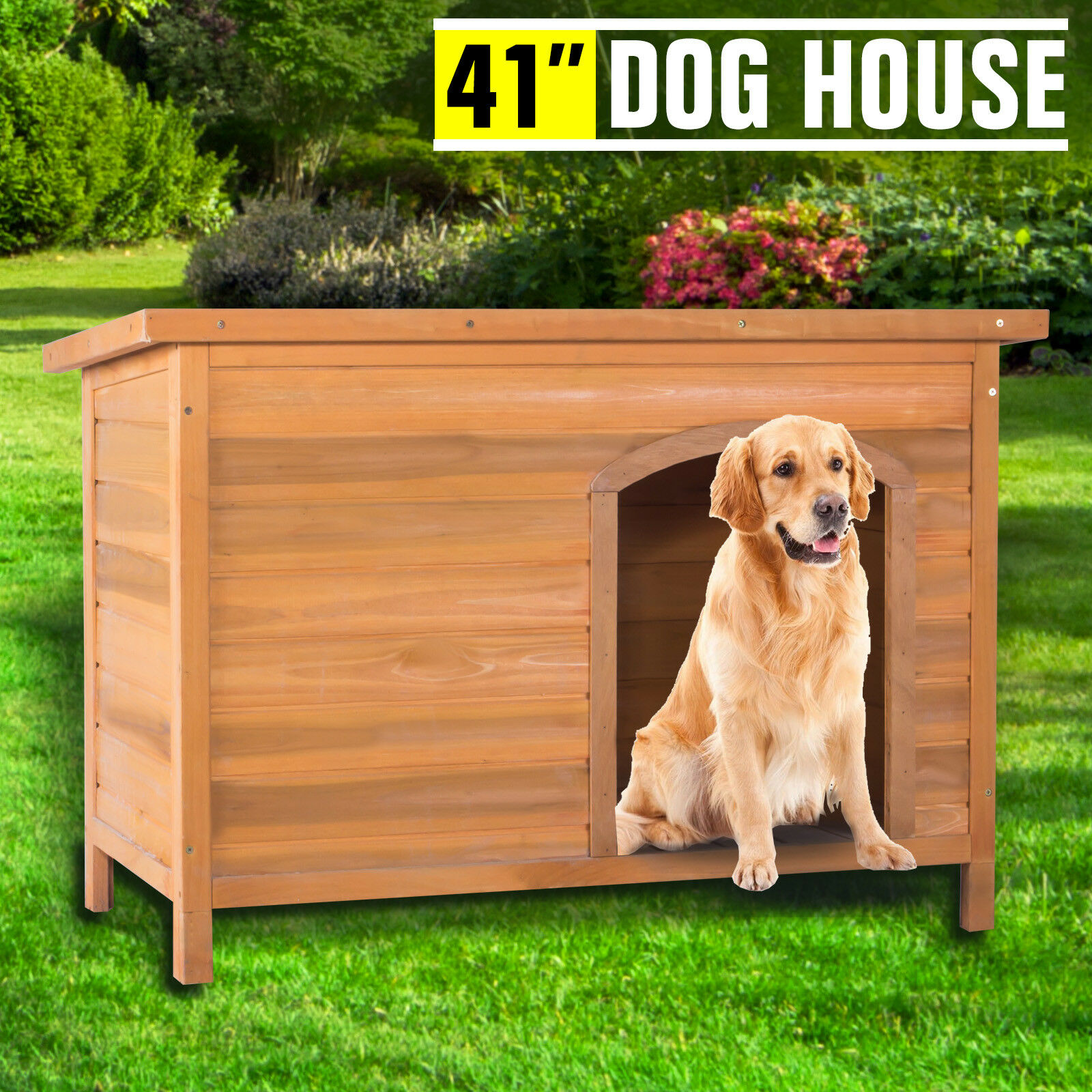 Large Wooden Dog House Kennel Pet Shelter Weather Resistant Home Outdoor Ground