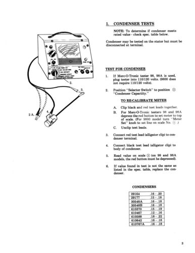 Merc-O-Tronic Test Instructions /& Specs for Tecumseh Ignition Parts Manual *1281