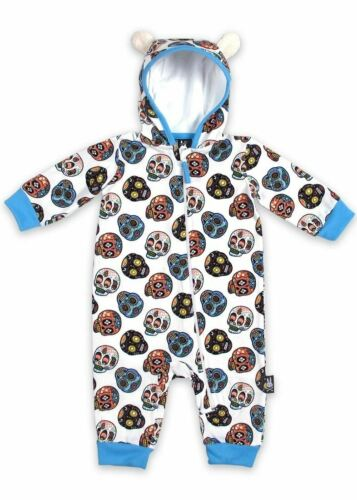 Six Bunnies Sugar Skulls Hooded Baby Toddler One Piece Romper Alt Tattoo Gothic