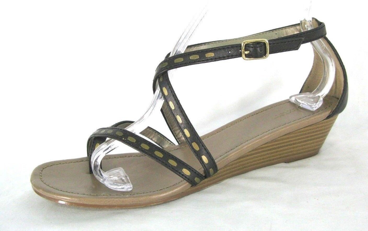 Dexter Sandals Shoes  Sz 9M Brown& Gold  Shoes Strappy Ankle Wedge Heels 9 M 203bd6