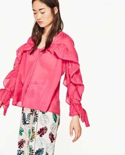 Top XS+; S+ ZARA Ramie Blouse Long Sleeve Ruffle /& Bow Pink//Cobalt New RT$43