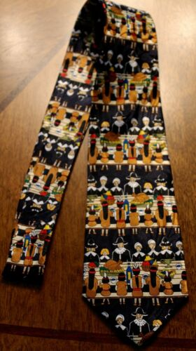 New First Turkey Day Mens Thanksgiving Family Blessing Blue Neck Tie #1