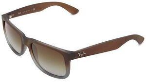 a60822f1d6 Ray-Ban Justin Sunglasses Mens Womens Brown Wayfarer Rb4165 854 7z 55 Mm