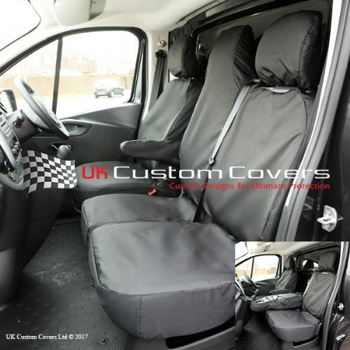 BLACK 147 TAILORED WATERPROOF FRONT SEAT COVERS VAUXHALL VIVARO SPORTIVE 2017