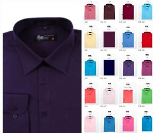 NWT-MEN-LONG-SLEEVE-DRESS-SHIRTS-WITH-POCKET-30-SOLID-COLORS-S-5XL
