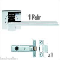Designer Modern Internal Door Handles Polished Chrome On Square Rose Latch Set