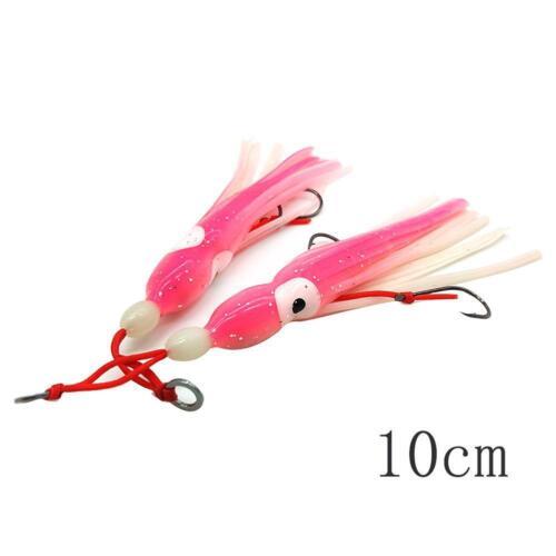 2x Fishing Lures Squid Skirt Trolling  Big Eye Octopus Lure Bait 6//10//14cm Sale