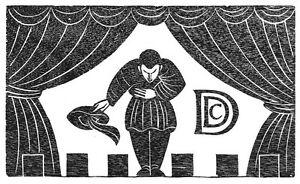 ERIC-GILL-FRAMED-ORIGINAL-LTD-EDN-WOOD-ENGRAVING-ACTOR-ON-STAGE-1929