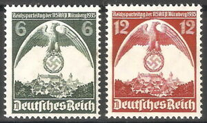 DR-Nazi-3rd-Reich-Rare-WW2-STAMP-NURENBERG-Congress-NSDAP-Party-Swastika-Eagle