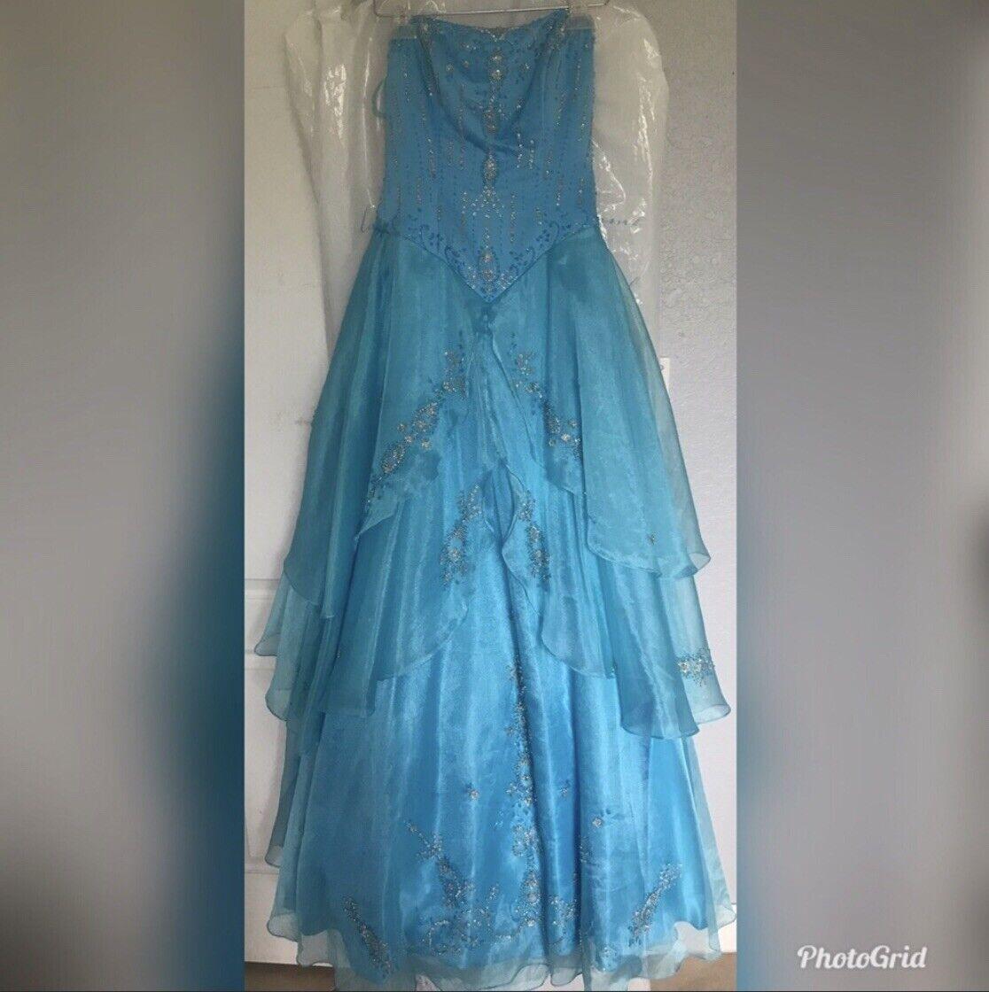 blue ball gown dress - image 1