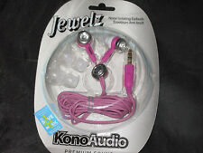 Purple Jewelz Earbuds Noise Isolating 3.5mm Plug MP3 Phone Stereo Gem NEW!