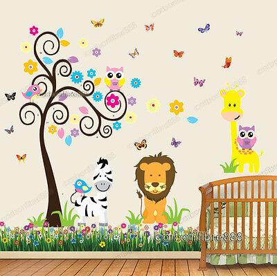 Owl Animal Tree Butterfly Giraffe Lion Zebra Wall Stickers Art Decal Paper Kids