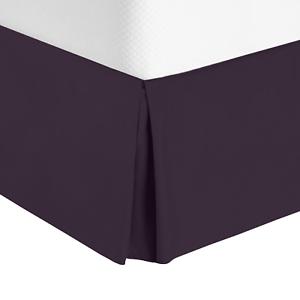 "Eggplant Premium Luxury Pleated Tailored Bed Skirt 14"" Drop Dust Ruffle Full"