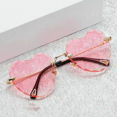 Classic Heart Shaped Rimless Sunglasses Shades Outdoor Eyewear Glasses Unisex
