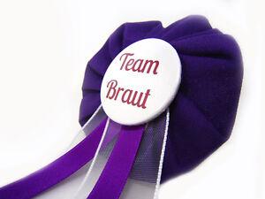 Orden-Team-Braut-JGA-Herz-Deko-Anstecker-Button-Junggesellinnenabschied-lila