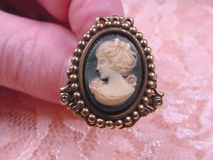 CHAT-T3-2) TINY LADY bow in hair green oval CAMEO hatpin hat Pin pins brass