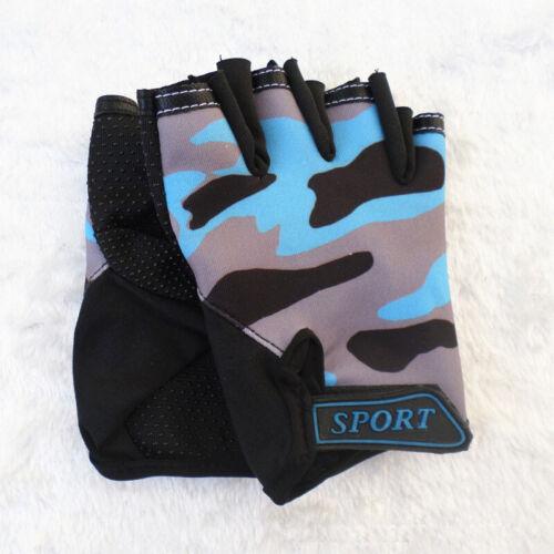 1 Pair Kids Children Bike Cycling Half Finger Fingerless Sports Gloves Age 7-9Y