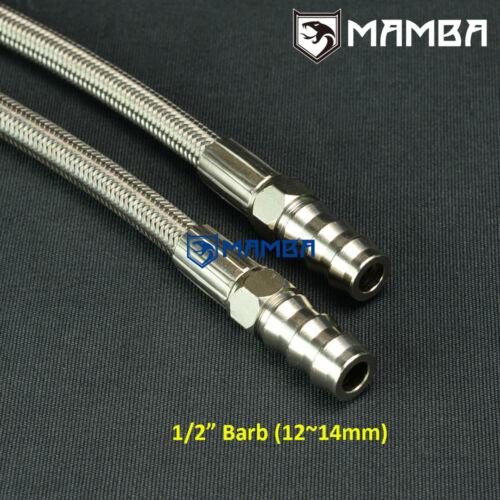 "Turbo Water Line Kit 6AN 3//8/"" Hose 90Deg-1//2/""Barb 25cm Garrett GT3582R GTX3582R"
