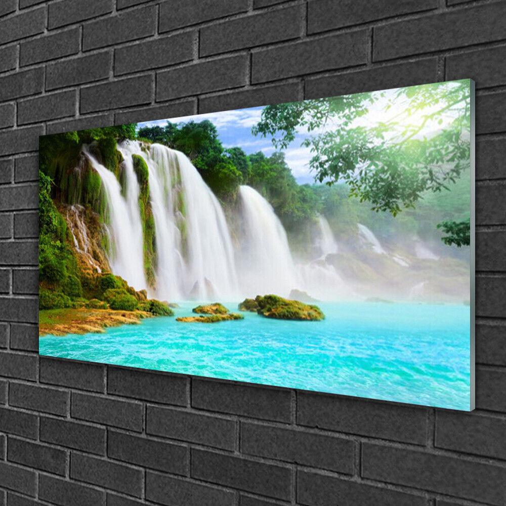 Wandbilder aus Plexiglas® 100x50 Acrylglasbild Wasserfall See Natur