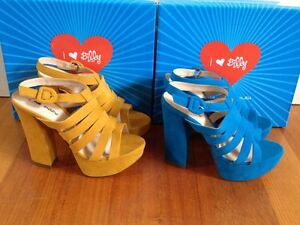 NEW-79-I-LOVE-BILLY-Avril-Platforms-Blue-or-Yellow-High-Block-Heels-Sandals