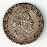 FRANCE 1831 H 5 FRANCS LOUIS PHILIPPE LA ROCHELLE MINT 900 SILVER COIN .7234oz