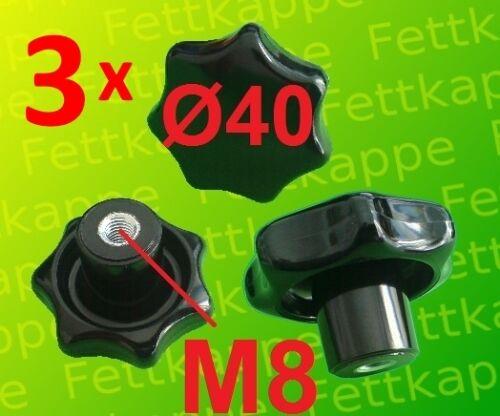 3 x Sterngriffmutter M8 Sternmutter Feststellmutter Sterngriff Griff Ø 40mm