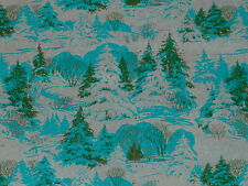 VTG CHRISTMAS WRAPPING PAPER GIFT WRAP MID CENTURY GORGEOUS TEAL TREES