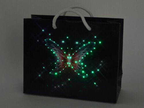 LED TASCHE TÜTE GESCHENKTÜTE Geschenktasche Schmetterling beleuchtet Farbwechsel