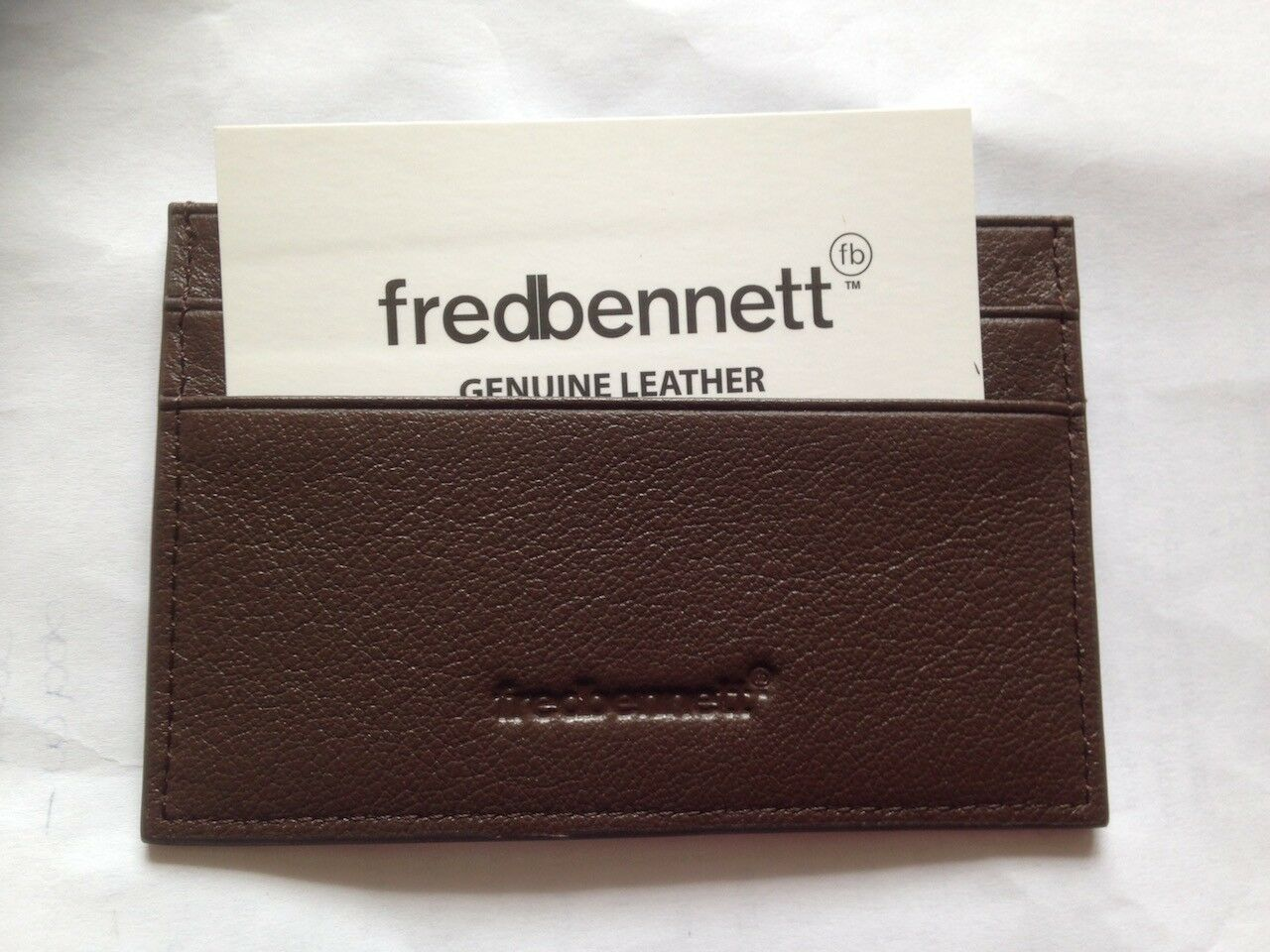 Gift Boxed FRED BENNETT Brown Leather CARD HOLDER W013 New