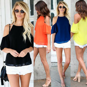 Women-039-s-Off-Shoulder-Tops-Long-Sleeve-Shirt-Casual-Blouse-Loose-T-shirt