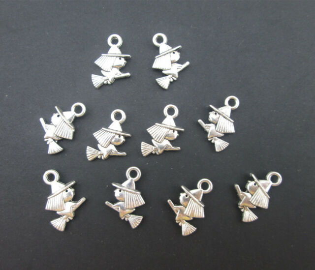 15PCS Tibetan Silver The Witch Ridding Broom Charms Pendants Jewelry DIY Beads