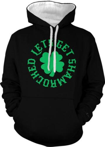 Patricks Day Drink 2-tone Hoodie Pullover Lets Get Shamrocked Irish Clover St