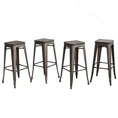 """Set of 4 30/"""" Barstools with Wooden Seat Bronze As Is"""