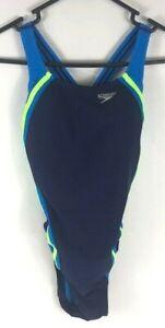 Speedo Womens Quantum Splice PowerFlex Eco Hydro Bra Swimsuit Starry Blue Size 4