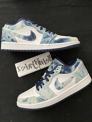 Nike Air Jordan 1 Low SE AJ1 Washed Denim Blue Navy White CZ8455-100 Size 7 Mens | eBay