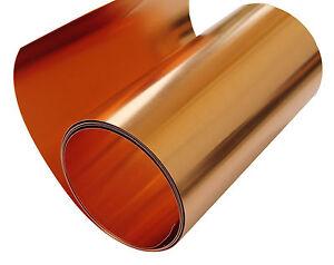 "Copper Sheet 10 mil/ 30 gauge tooling metal roll 36"" X 6' CU110 ASTM B-152"