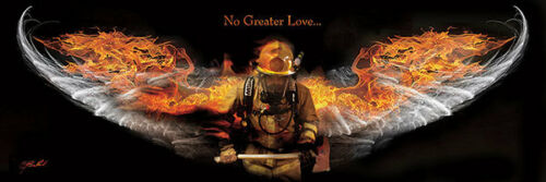 No Greater Love Fireman Jason Bullard Honor Firefighter Protect Print Poster lg