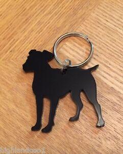 Jack Russell Hund Schlüsselanhänger Tasche Anhänger Geschenk IN Schwarz Mit