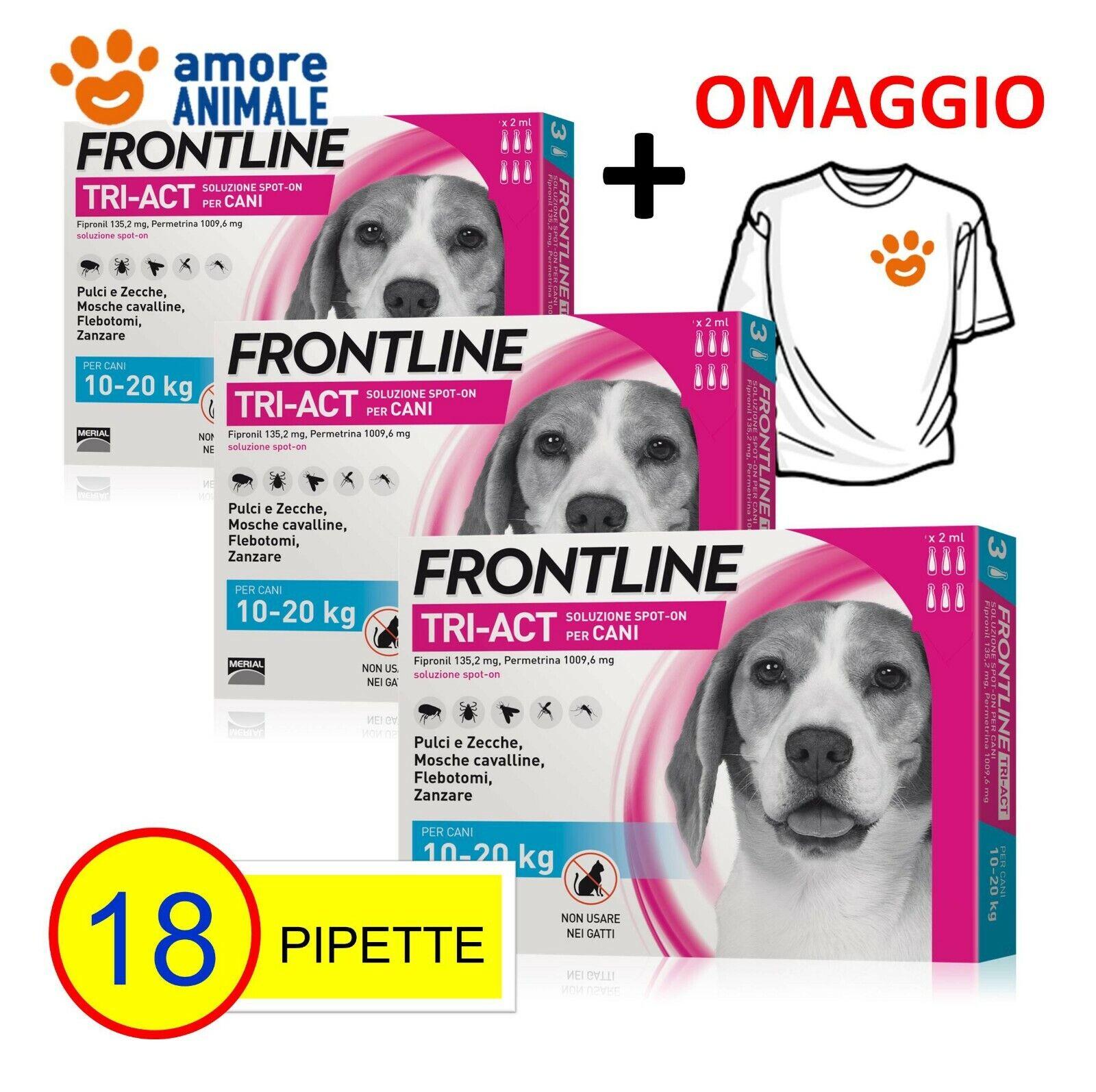 3 CONFEZIONI M Frontline TRIACT 6 pipette per cani 1020 kg Antiparassitario