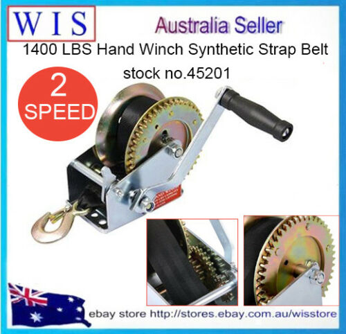 1400LB630Kg Hand Winch 2ways Synthetic Strap 4WD Manual Car Boat45201