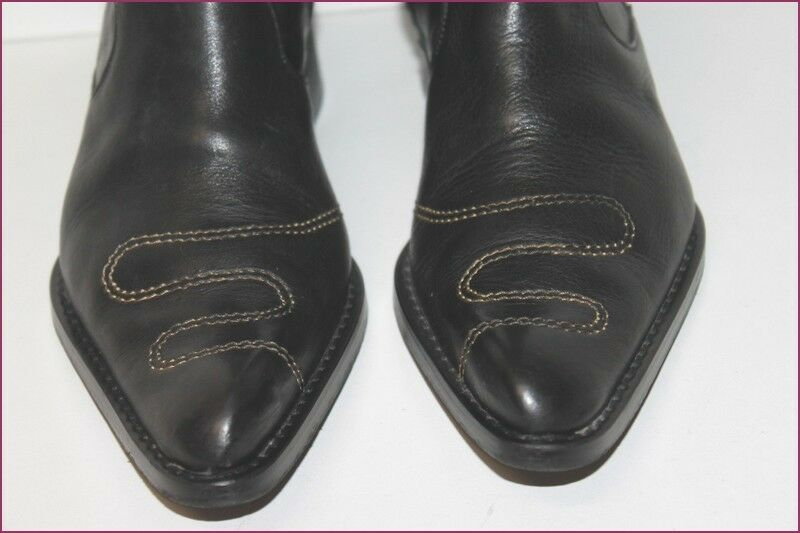 STEPHANE GONTARD Bottes Pointues Cuir black black black T 38 TBE 2dc064