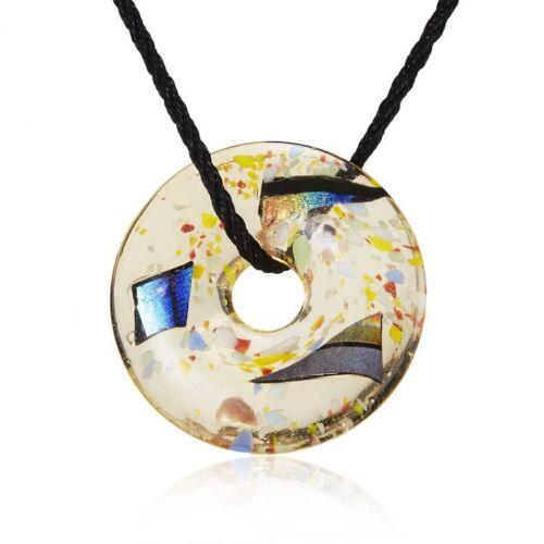 Fashion Gold Foil Heart Flower Lampwork Glass Pendant Necklace Women Jewelry