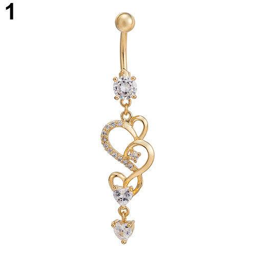 Fashion Love Heart Drop Charm Belly Ring Cubic Zirconia Barbell Navel Body Pierc