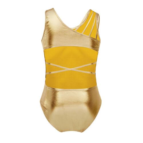 Girls Metallic Gymnastic Ballet Dance Leotards Athletic Unitards Sport Bodysuit