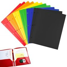12 Poly Portfolio Two Pocket Folders 3 Hole Punch Prong Fasteners Letter Paper