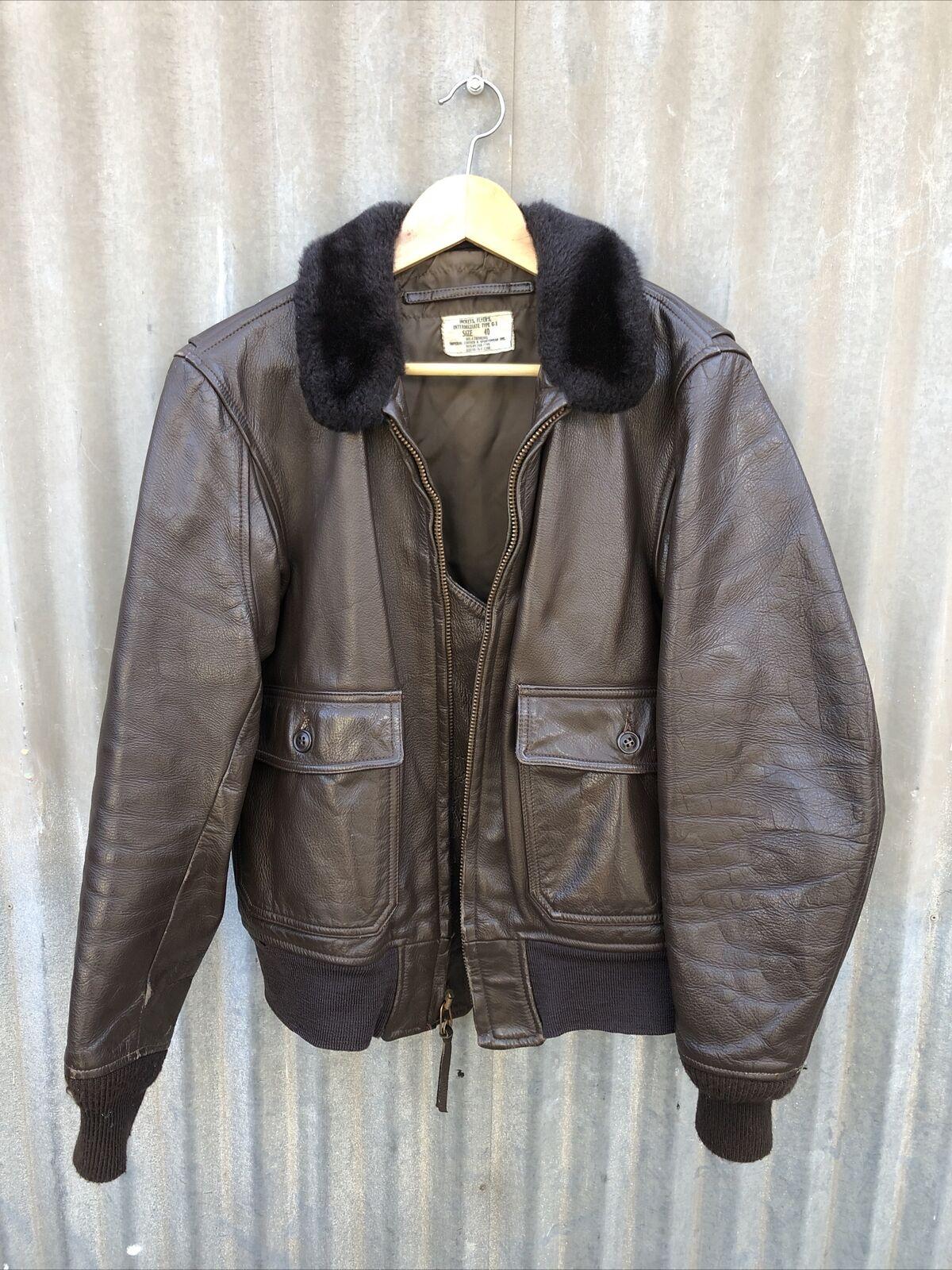 Vintage Leather Flight Jacket Genuine USN Navy G-… - image 1