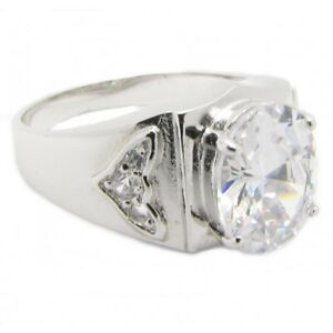 925-Silber-Unisex-Herren-Damen-Ring-034-King-034-Zirkonia-Diamant-Bling-PLAYAZ-massiv