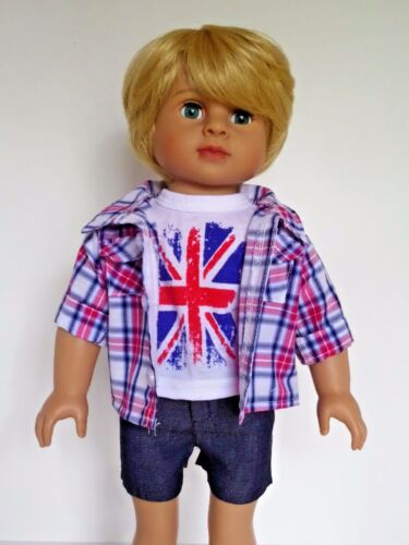 """Red and Blue Plaid 3pc Shorts Set Fits 18/"""" American Boy or Girl Doll Clothes"""
