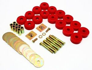 1959-1964-Chevy-Impala-Bel-Air-Hard-Top-Body-Mounts-Kit-Red-Poly-Prothane-7-144