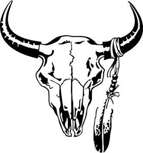 4c3434a46 Image is loading cow-skull-with-feathers-indian-painted-R-L-M-VINYL-